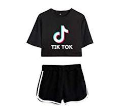 Women 2Pcs Set Tik Tok Crop Top T-shirt+Shorts Lounge Wear Tracksuit Casual Suit