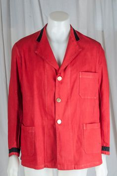 Men's red linen uniform jacket w/ black trimmed collar and cuffs, gold buttons. Vintage, formal by TessiesOldOddities on Etsy