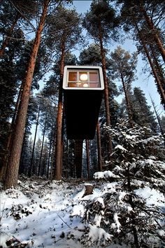 Tree Hotel by Tham & Videgård Arkitekter The more popular image of this project is of the Mirrorcube, but it consists of six rooms accessible through wooden ladders and ropes. Cabins In The Woods, House In The Woods, Amazing Architecture, Architecture Details, Treehouse Hotel, Unusual Hotels, Cool Tree Houses, House In Nature, Building Structure