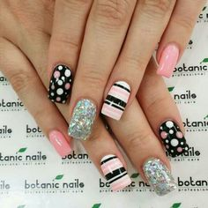 Make easy nail art designs 2015 at home in different styles with beads and glitters. Easy nail art patterns ideas tutorial to make at home Dot Nail Art, Polka Dot Nails, Acrylic Nail Art, Nail Art Diy, Easy Nail Art, Diy Nails, Polka Dots, Dot Nail Designs, Simple Nail Art Designs