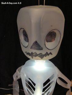 halloween ghost lights from milk jugs   Good For Bones Skull