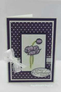 Stampin up simply sketched birthday card. Elegant eggplant. Water coloured.