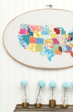 Use huge sewing hoops to create beautiful art.