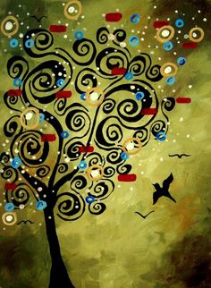 Olive green and black swirly tree. Birds and colorful shapes