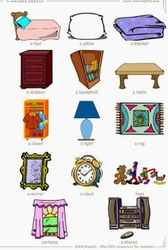 Inglese: 14 Bedroom objects flashcard