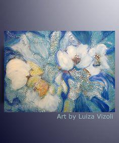 Abstract Original Flowers Painting 40x30 Large by LUIZAVIZOLI