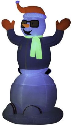 Inflatable Neon Snowman Plastic Outdoor Decor 6 Foot Animated Weather Resistant #Doesnotapply #Inflatable #Snowman #Outdoor #Decoration Smurfs, Snowman, Disney Characters, Fictional Characters, Weather, Plastic, Neon, Animation, Decoration