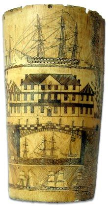 Scrimshaw, the carving of whale bone or often whale tooth. It began on whaling ships between 1817–1824 on the Pacific Ocean, and survived until the ban on commercial whaling