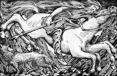 """Di color grigio, dotato di otto zampe, è il migliore cavallo che esista, il più veloce. È in grado di cavalcare il cielo e le acque, e anche lungo gli altri mondi.[1][2] Il suo nome significa """"colui che scivola rapidamente"""". Secondo alcune fonti Sleipnir porta delle rune incise sui denti.Odin rides to Hel - Sleipnir - Wikipedia,"""