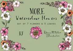 Check out MORE watercolour flowers by rebeccamcmillan on Creative Market