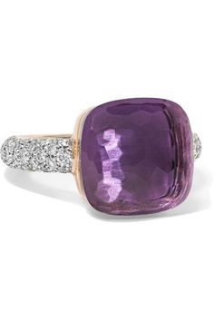 Nudo rose and white gold, amethyst and diamond ring - Pomellato Amethyst And Diamond Ring, Purple Amethyst, Diamond Jewelry, Diamond Rings, White Gold Rings, White Gold Diamonds, Pomellato, Fine Jewelry, Jewelry Rings