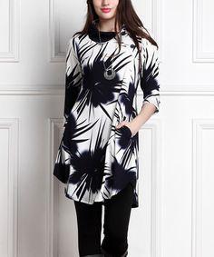 Look at this #zulilyfind! Navy Abstract Shawl-Collar Pocket Tunic Dress - Plus Too #zulilyfinds