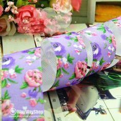 New 1 Inch 5 Yards Rose Flower Grosgrain Ribbon Sewing Craft FL047 (8 color)