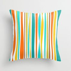 Decorative Pillow Cover, Pool Pillows, Throw Pillow, Turquoise, Orange, Yellow, Patio Cushion, Summer House, Outdoor Pillow Cover Julia Bars