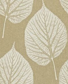 Leaf (110370) - Harlequin Wallpapers - A beautiful large scale leaf motif with intricate detailing in the leaf. Shown here in cream on gold. More colours are available. Please request a sample for true colour match. Paste-the-wall product.