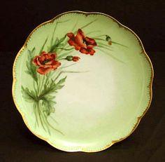 Antique Haviland Limoges Porcelain Plate Hand Painted Flowers Orange Red Poppies Floral Artist Signed