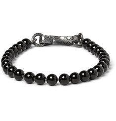 Bottega VenetaOxidised Silver and Onyx Beaded Bracelet