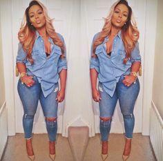 Pretty Girl Swag Denim X Denim Jeans Ripped Shirt Dope Urban Streetwear Fashion Style Trend Fashionista Sexy Black Beautiful Women Pammacb Style Outfits, Mode Outfits, Fall Outfits, Casual Outfits, Fashion Outfits, Womens Fashion, Curvy Outfits, Casual Jeans, Swag Outfits