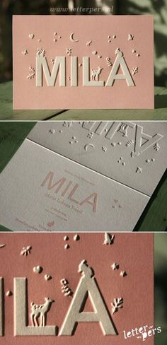 letterpers_letterpress_geboortekaartje_Mila_roze_preeg_lief_dieren – Trends Pins Home