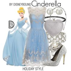 Cinderella by leslieakay on Polyvore featuring Chi Chi, Michael Antonio, INC International Concepts, Ben-Amun, Oscar de la Renta, Kenneth Jay Lane, Christmas, disney, disneybound and disneycharacter