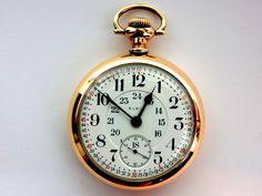 Mega Rare Antique 18s Railroad 23J Elgin Veritas Gold Pocket Watch Mint Serviced #Elgin