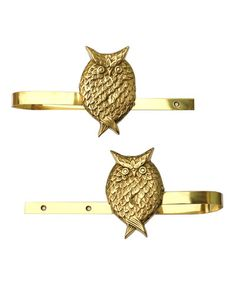 Brass Owl Curtain Tie Backs Pinned by www.myowlbarn.com