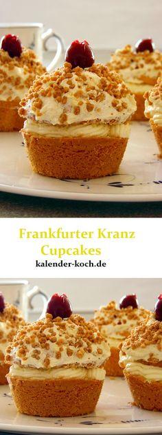 Wem ein gewöhnlicher Kuchen zu langweilig ist, aber trotzdem gerne Klassiker isst, für den sind diese Frankfurter Kranz Cupcakes genau richtig,