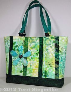 Trellis Tote in Greens by TerriStegmillerArt on Etsy, $70.00