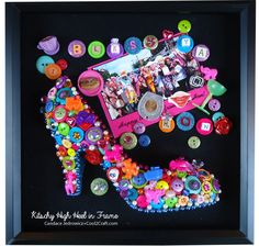 Kitschy High Heel Wall Art by Candace Jedrowicz. Featured on www.cool2craft.com #buttons #diycraft