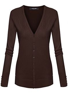 ACEVOG Women Classic Soft Long Sleeve Open Front Cardigan Sweater Knitwear -- Click image to review more details.