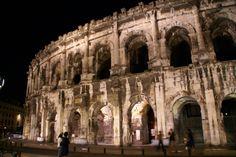 Les Arènes de Nîmes, de nuit Camping, Notre Dame, Building, Travel, Blue Skies, Tourism, Italy, Night, Homes