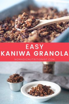 Easy, grain-free and gluten-free peanut butter granola is a delicious make-ahead breakfast or snack. Make a big batch of this homemade granola to make breakfast super easy for the whole family! Peanut Butter Granola, Gluten Free Peanut Butter, Gluten Free Recipes For Breakfast, Snack Recipes, Grain Free Granola, How To Make Breakfast, Glutenfree, Super Easy, Healthy Snacks