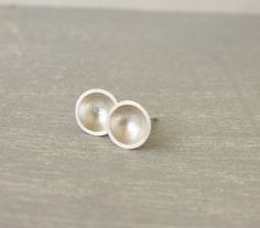 Domed shiny silver round stud earrings / round discs silver post earrings / geometric stud earrings handmade