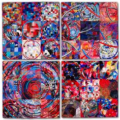 """Sue Benner, textile artist - STUDIO HISTORY (in four parts)  ______________________________  2010 - 73"""" x 73""""  dye and paint on fabric (silk, cotton, polyester, commercial and found fabrics, recycled clothing), fused, mono-printed, machine quilted"""