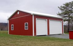 Dimensions: 30' W x 32' L x 12' H (ID# 114) 30' Standard Trusses, 4' on Center, 4/12 Pitch  Colors: Siding Color: Red Roofing Color: Brite White Trim Color: Brite White  Visit: http://pioneerpolebuildings.com/portfolio/project/30-w-x-32-l-x-12-h-id-114-total-cost-17326  Or Call: 1-888-448-2505  Pioneer Pole Buildings, Inc. 716 South Route 183 Schuylkill Haven, PA. 17972