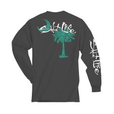 Palmetto Moon | Salt Life Palmetto Tree Long Sleeve T-Shirt charcoal and aqua