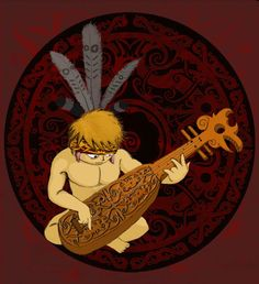 Sapeh is Dayak's Music Instrument. it's almost look likes chinese guitar. Indonesian Art, Borneo, Ethnic, Ornament, Carving, Culture, Deviantart, Illustration, Artwork