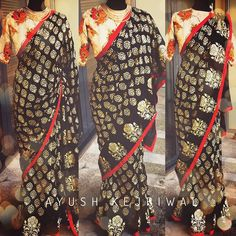 KABIRA Every woman in this world needs a black saree in their wardrobe. This gold black foil hand printed saree is an absolute stunner. I could have teamed this up with a gold or a black blouse but instead I decided to team it up with this gorgeous sprint coloured floral blouse and that is what makes it that tad bit special. KABIRA is simply stunning. Love it to the moon and back.  For purchases email me at  designerayushkejriwal@hotmail.com or what's app me on 00447840384707  We ship…