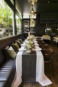 Charcoal Table Runners - Lovebird Weddings, Noosa Australia