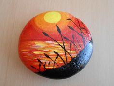 Sunset beach painted rock