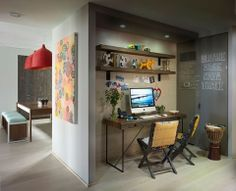 Bohemian Apartment Homework Area - eclectic - home office - new york - Incorporated (I love the shelves above the desk) Industrial Home Offices, Small Home Offices, Industrial House, Small Office, Mini Office, Industrial Style, Industrial Workspace, Industrial Shelves, Workspace Desk