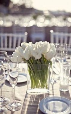 Beach Wedding from Meg Perotti i like the simplicity of white tulipsi like the simplicity of white tulips Tulip Wedding, Wedding Flowers, Blue Wedding, White Tulips, White Flowers, Design Floral, Home And Deco, Decoration Table, Wedding Table