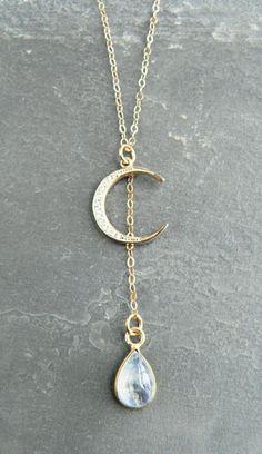 Crescent Moon & Moonstone Pendant   Kattilac