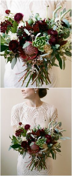 Wedding bouquets, fall wedding colors, fall bouquet colors, vintage flower bouquets, lush bridal bouquet, get more inspiration on borrowedandblue.com // White Rabbit Studios