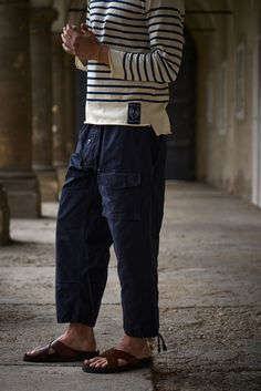"Loose fit ""Submariner"" pants made from a water repellent cotton fabric by The British Millerain Co. Detailled description coming soon. Size runs large! Made in France. Denim Pants, Cotton Fabric, Running, Loose Fit, Fitness, How To Make, British, France, Collection"