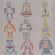Robots embroidery pattern from Shiny Happy World.
