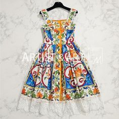 Runway Custom Made Summer Cotton Dress Women's Color Print Exquisite Lace Spaghetti Strap Dress