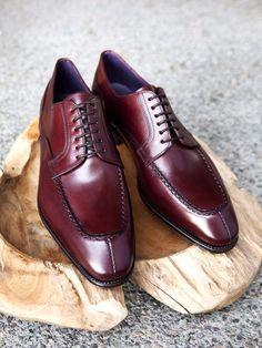 Carmina Shoemaker Split Toe Derby in Burgundy Calf