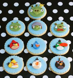 Angry Birds Cookies - 10 of 40 Angry Birds cookies. I used a fluted pastry cutter for the topper and poked individual holes in each scallop. I used the No Fail Sugar Cookie recipe found on Cake Central. All decorations are fondant. So many eyebrows! Thanks to Renklipasta who totally inspired these cookies.