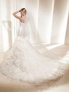 Popular Modern A-line Strapless Floor-length Organza White Wedding Dresses 2013